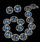 OLD LOS BALLESTEROS SILVER BLUE GEMS NECKLACE EARRINGS