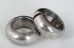 Antonio Pineda Mod Mexican Silver Hoop Earrings
