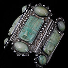 MONUMENTAL DECO MEXICAN SILVER CARVED JADE BRACELET