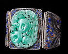 DECO CHINESE SILVER ENAMELS and CARVED JADE BRACELET