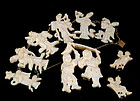 OLD DECO CHINESE BRASS CARVED OX BONE WEDDING PARURE