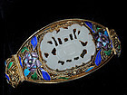 DECO CHINESE SILVER CARVED JADE and ENAMELS BRACELET