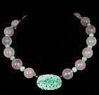DECO CHINESE CARVED JADE ROSE QUARTZ BEADS NECKLACE
