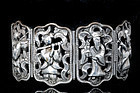OLD DECO CHINESE SILVER EIGHT IMMORTALS BRACELET