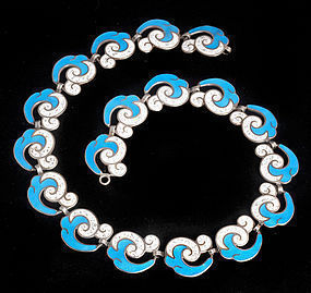 MARGOT de TAXCO MEXICAN SILVER ENAMEL WAVES NECKLACE