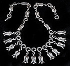 RARE DECO MEXICAN SILVER REPOUSSE TULIPS NECKLACE