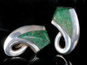 Enrique LEDESMA MEXICAN SILVER and MALACHITE EARRINGS