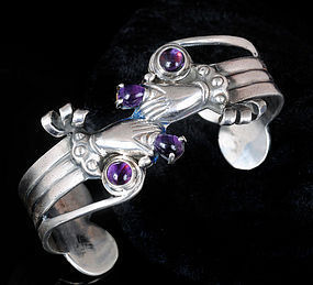 DECO QUINTO MEXICAN SILVER Hands Tulips CUFF BRACELET