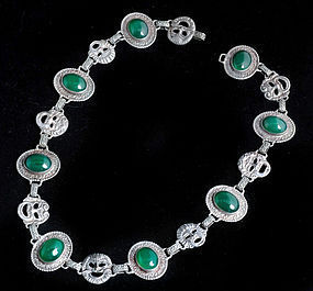 DECO ITALIAN 800 Silver CHRYSOPRASE NECKLACE Masks