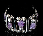 RARE MEXICAN SILVER CARVED AMETHYST TULIPS BRACELET