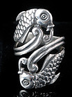 Vintage MEXICAN SILVER KOI FISH REPOUSSE By PASS RING
