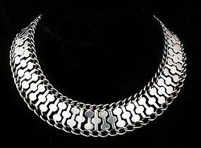 FarFan DECO MEXICAN SILVER PUZZLE COLLAR NECKLACE