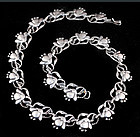 RARE PROSA MEXICAN SILVER FUCHSIA FLOWERS NECKLACE