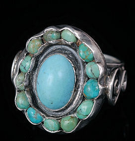 GORGEOUS DECO Matl-esque MEXICAN SILVER TURQUOISE RING
