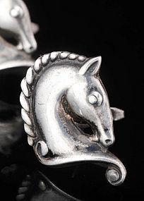 MARGOT de TAXCO MEXICAN SILVER HORSE HEAD CUFFLINKS