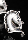 MARGOT de TAXCO MEXICAN SILVER HORSE HEAD CUFFLINKS