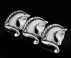 MARGOT de TAXCO MEXICAN SILVER HORSE HEADs PIN BROOCH
