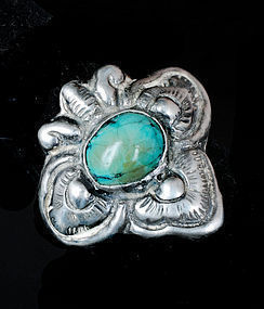 OLD MATL-esque MEXICAN SILVER TURQUOISE MOTH RING