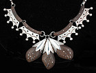 RARE 50s ABEL J. MEXICAN SILVER and ROSEWOOD NECKLACE