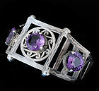 DECO MEXICAN SILVER and ALEXANDRITE HINGED BRACELET