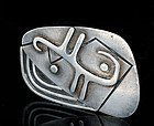 BIG Enrique LEDESMA MEXICAN SILVER MOD PIN BROOCH