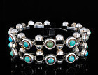 Heavy DECO MEXICAN SILVER Turquoise CAVIAR BRACELET