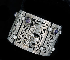 DECO MEXICAN SILVER AMETHYST FIGURAL Overlay BRACELET