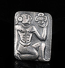 OLD BARRERA MEXICAN SILVER REPOUSSE PIN BROOCH