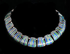 HEAVY LOS CASTILLO MEXICAN SILVER Mozaico NECKLACE