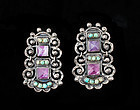 Deco RIVERA MEXICAN Silver JEWELED Matl-esque EARRINGS
