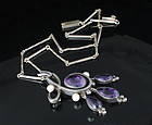 MEXICAN 980 Silver Pearls Amethyst PENDANT NECKLACE