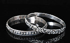 set 2 Mexican silver Bangle Bracelets Etruscan floral