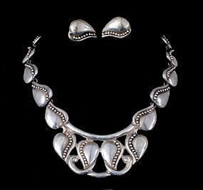 Mexican silver Necklace Earrings Margot de Taxco style
