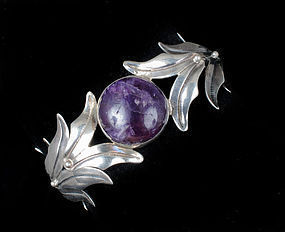 Deco Mexican silver and amethyst foliate Bracelet