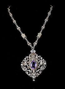 Deco Peruzzi style Italian 800 silver amethyst Necklace