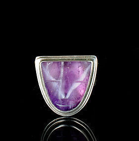 Deco Abraham Paz Mexican silver amethyst mask Ring