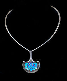 Ostern for David Andersen silver enamel torque Necklace