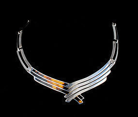 Mexican 980 silver tortoise shell modernist Necklace Pineda style