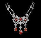 Peruzzi Deco Italian 800 silver and carnelian Necklace