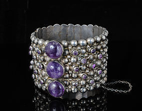 Deco Mexican silver amethyst multi-row beaded Bracelet