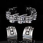 Margot de Taxco Mexican silver Bracelet Earrings set ~ 5247