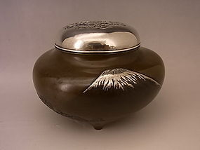 Japanese Meiji Period Incense Burner with Mt. Fuji