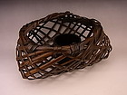 Japanese 20th C. bamboo flower basket by Chikuunsai II