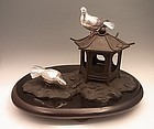 Japanese Early 20th C. Silver and Bronze Pidgeon and Lantern Okimono