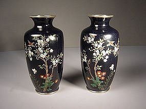 Japanese E. 20th C. Pair of Miniature Cloisonne Vases