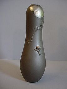 Japanese White Bronze Snail and Vine Design Vase`