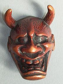 Japanese Carved Boxwood Hannya Mask Netsuke