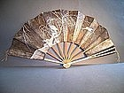 Japanese Meiji Period Silver Winter Themed Fan
