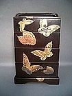 Japanese Mid 20th Century Lacquer Butterfly Jubako