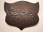 Japanese 20th Century rabbit and waves design roof tile
